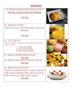 Desserts Menu at Yupins Restaurant in Jomtien Thailand Page 1