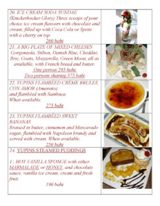 Desserts Menu at Yupins Restaurant in Jomtien Thailand Page 2