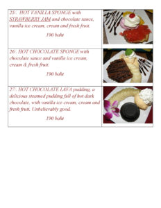 Desserts Menu at Yupins Restaurant in Jomtien Thailand Page 3