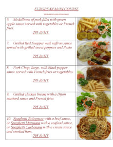 European Main Course at Yupins Pattaya-Jomtien Restaurant Page 1