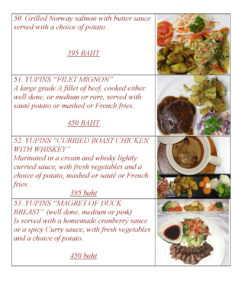 European Main Course at Yupins Pattaya-Jomtien Restaurant Page 3