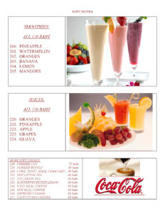 Soft Drinks, Smoothies and Juices at Yupins Restaurant in Jomtien Pattaya Thailand