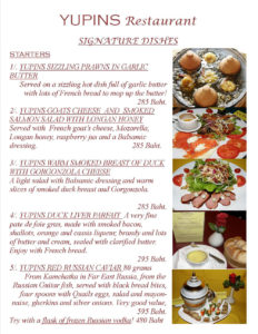 Signature Dishes in Pattaya Jomtien Restaurant Page 1