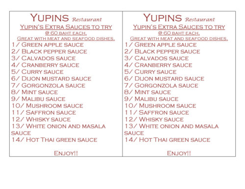 Table promo of Yupins Sauces in Jomtien Pattaya restaurant.
