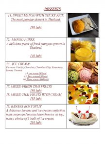 Desserts at Yupins Restaurant in Chomtien Beach Pattaya Page 1 (updated, November 2018)