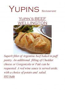 Promotion - Beef Wellington at Yupins Jomtien restaurant (updated, November 2018)