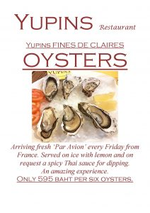 Promotion - Oysters at Yupin's Restaurant in Jomtien (updated, November 2018)