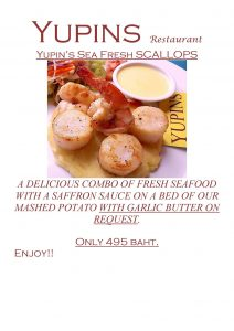 Promotion - Sea Fresh Scallops in Pattaya restaurant (updated, November 2018)