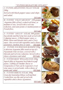 Signature Steaks of Yupin's Restaurant in Jomtien beach (updated, November 2018)